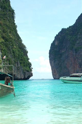 iPhone Wallpaper Thailand, sea, boats, island
