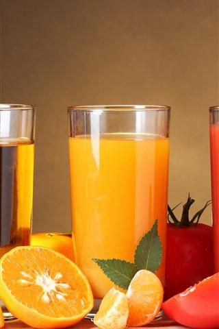 iPhone Wallpaper Three cups of fruit juice, apples, oranges, tomatoes
