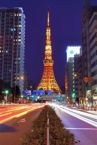 iPhone Wallpaper Tokyo Tower, Japan, night, road, illumination