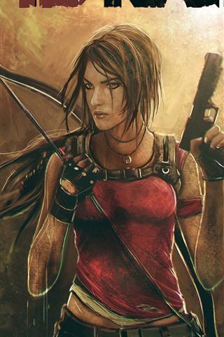 iPhone Wallpaper Tomb Raider, Lara, gun, skull