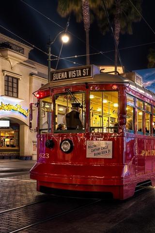 iPhone Wallpaper Tram, night, city street, lights