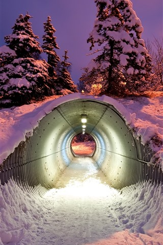 iPhone Wallpaper Tunnel, snow, winter, night