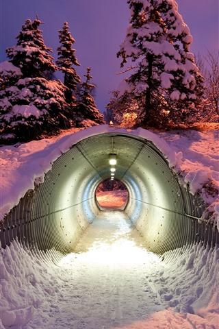 iPhone Wallpaper Tunnel, snow, winter, night