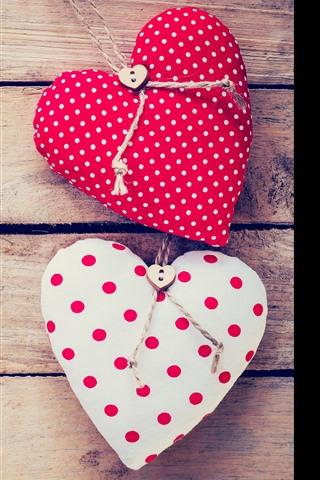 iPhone Wallpaper Two love hearts, wood board, romantic