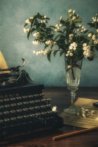 iPhone Wallpaper Typewriter, music score, flowers, vase
