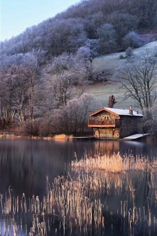 iPhone Wallpaper UK, England, lake, trees, hut, slope