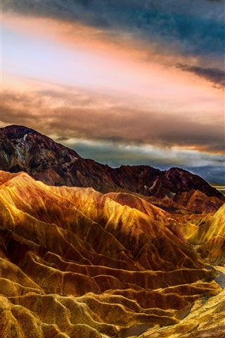 iPhone Wallpaper USA, Death Valley, mountains, clouds, nature landscape
