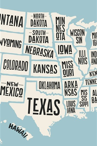 iPhone Wallpaper USA map, state name, creative picture