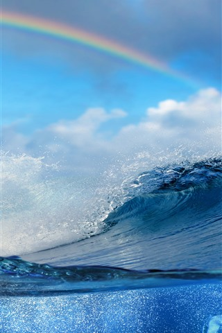 iPhone Wallpaper Water splash, sea, fish, clouds, shadow