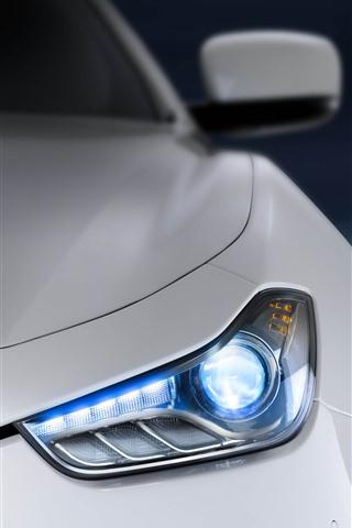 iPhone Wallpaper White Maserati front view, headlight