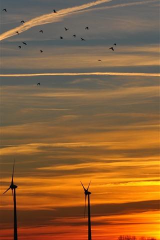 iPhone Wallpaper Windmill, sunset, sky, clouds