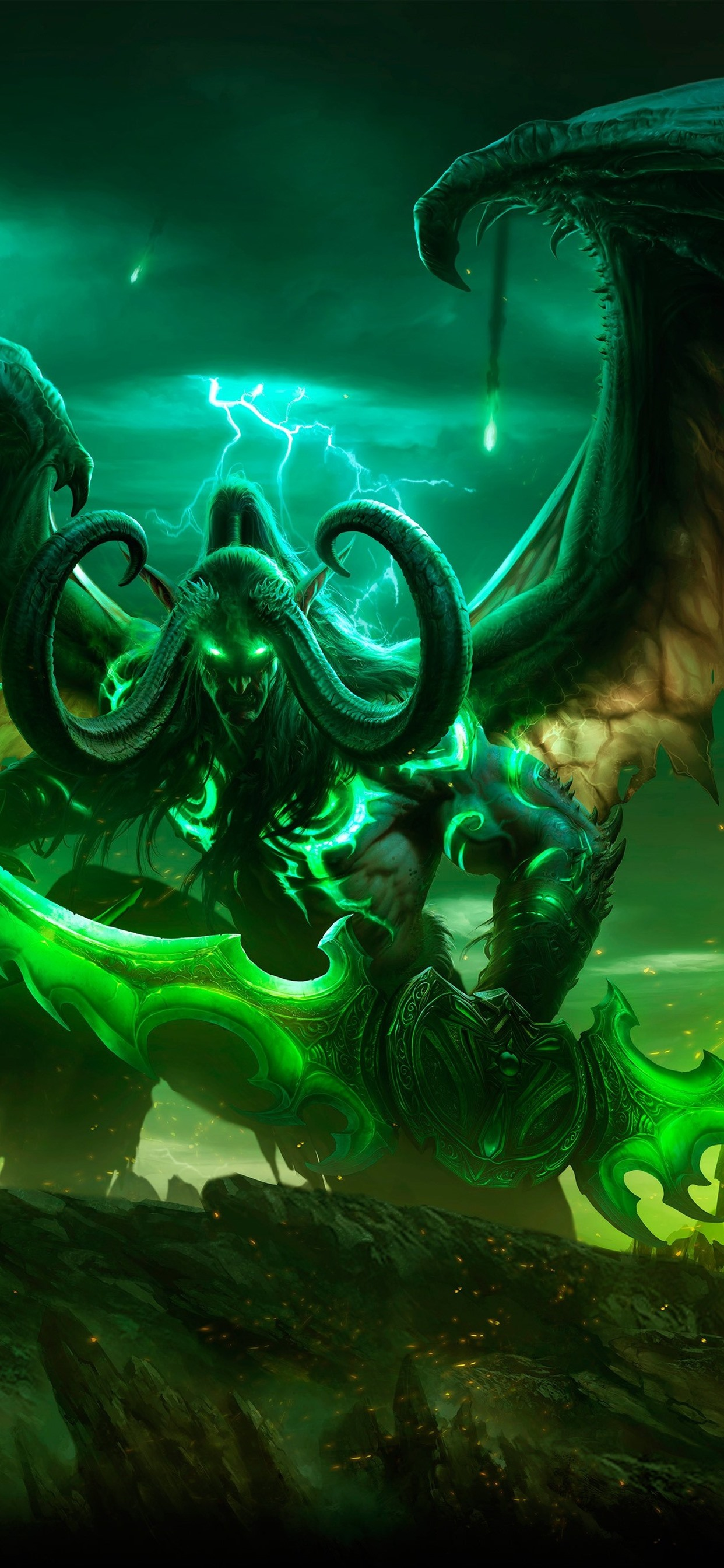 World Of Warcraft Horns Wings Game Art Picture 1242x2688 Iphone