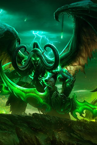iPhone Wallpaper World of Warcraft, horns, wings, game art picture