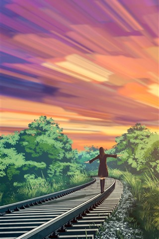 iPhone Wallpaper Anime, girl walking on the railroad, trees, sunset