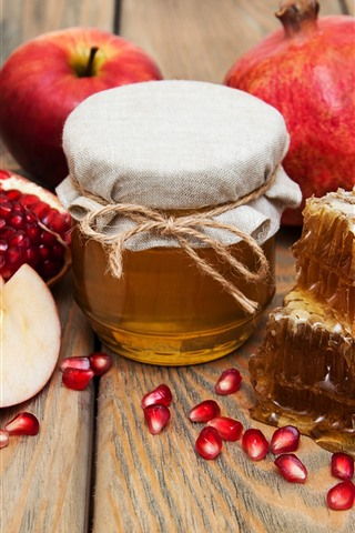 iPhone Wallpaper Apples, honey, pomegranate