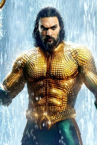 iPhone Wallpaper Aquaman, Arthur, golden scales, waterfall