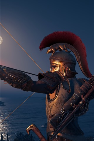 iPhone Wallpaper Assassin's Creed: Odyssey, archer, armor, fire arrow