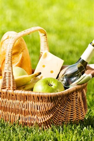 iPhone Wallpaper Basket, bread, wine, apple, banana, green grass