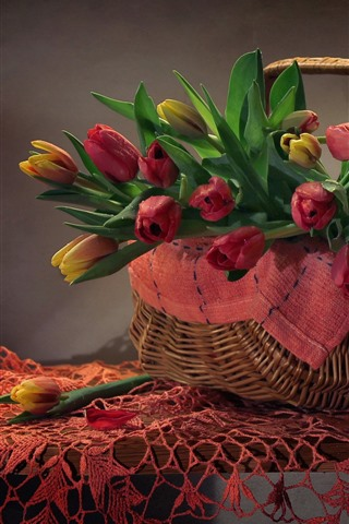 iPhone Wallpaper Basket, tulips, table, still life