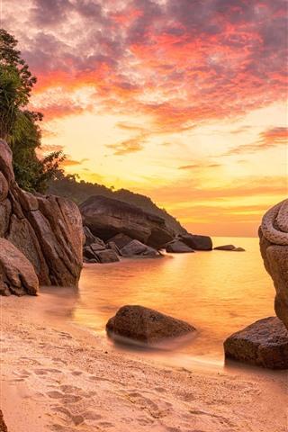 iPhone Wallpaper Beach, rocks, rope, sea, clouds, sunset