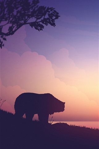 iPhone Wallpaper Bear and deers, mountains, sunset, art picture