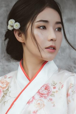 iPhone Wallpaper Beautiful Japanese girl, young woman, kimono