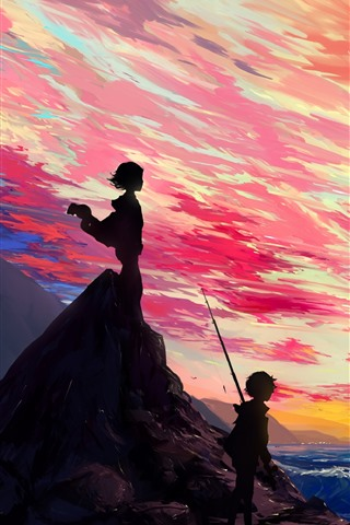 iPhone Wallpaper Beautiful anime picture, girl and boy, sea, clouds, sunset