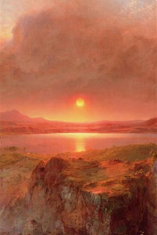 iPhone Wallpaper Beautiful nature landscape, mountains, smoke, sunset, waterfall, oil painting