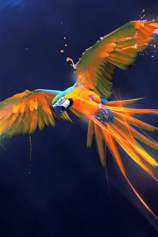 iPhone Wallpaper Beautiful parrot, paint, wings, flight, art picture, creative