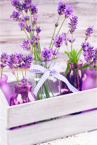 iPhone Wallpaper Beautiful purple lavender flowers, bottles, wood box