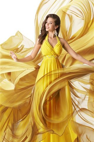 iPhone Wallpaper Beautiful yellow skirt girl, art photography