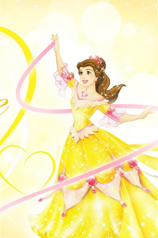 iPhone Wallpaper Belle, Princess, love heart, yellow skirt, Disney anime girl