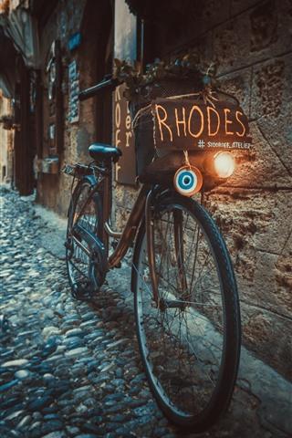 iPhone Wallpaper Bike, street, town