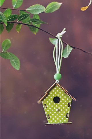 iPhone Wallpaper Birdhouse, twigs, leaves