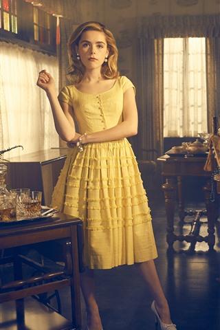 iPhone Wallpaper Blonde girl, yellow skirt, room interior
