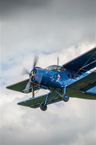 iPhone Wallpaper Blue biplane, sky, flight