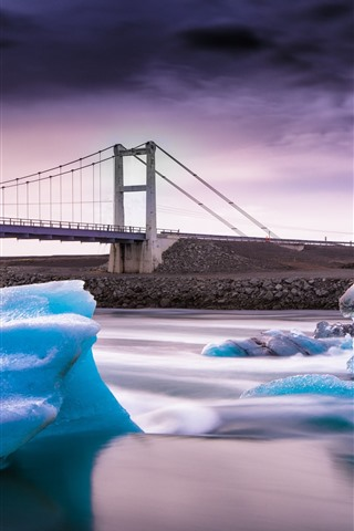 iPhone Wallpaper Blue ice, river, bridge
