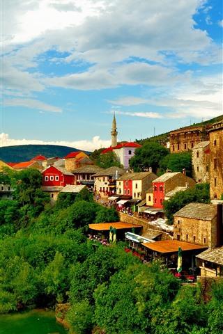 iPhone Wallpaper Bosnia and Herzegovina, Mostar, town, river, trees