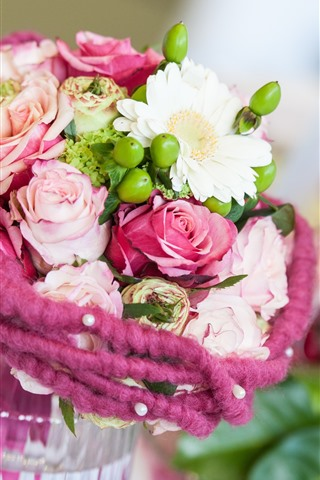 iPhone Wallpaper Bouquet, flowers, vase, rose, daisy