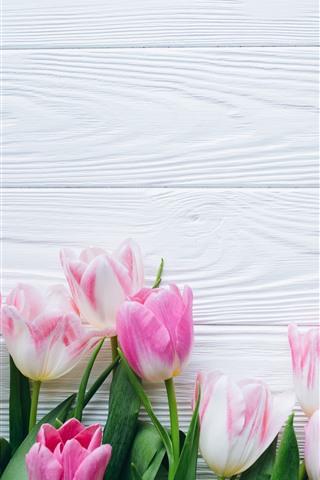 iPhone Wallpaper Bouquet, pink tulips, wood board