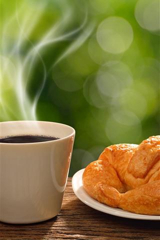 iPhone Wallpaper Bread, coffee, steam, breakfast