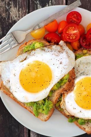 iPhone Wallpaper Breakfast, eggs, sandwich, tomatoes, avocado