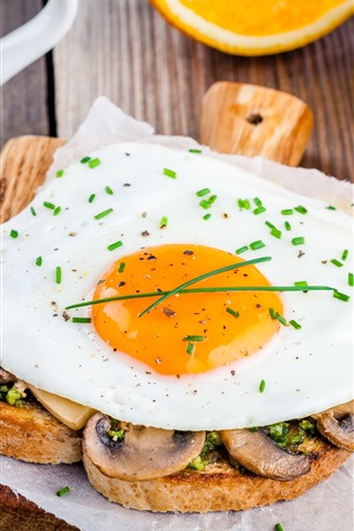 iPhone Wallpaper Breakfast, toast, egg, coffee, oranges