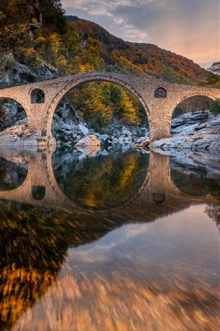 iPhone Wallpaper Bulgaria, Devil's Bridge, mountain, trees, river, water reflection, autumn