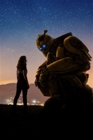 iPhone Wallpaper Bumblebee, girl and robot, starry, sky, night