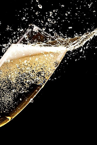 iPhone Wallpaper Champagne, glass cup, splash, black background