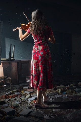 iPhone Wallpaper Chernobylite 2019, PC game, girl, back view, violin