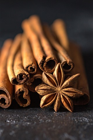 iPhone Wallpaper Cinnamon, spices, macro photography