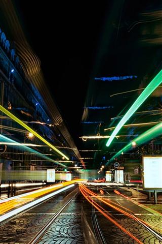iPhone Wallpaper City, street, light lines, glare, night, speed