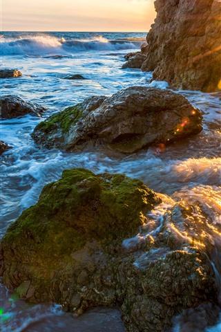 iPhone Wallpaper Coast, sea, rocks, arch, sun rays, water waves